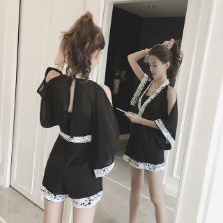 韓国サロペット❤浴衣風で肩見せ背中店チラリのレース有のサロペット!