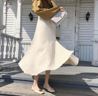 韓国スカート❤ハイウエストで薄手な感じの春夏に最適な清楚綺麗なスカート