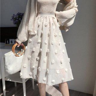 韓国スカート❤花のボンボンが可愛い韓国ファッションのフレアスカート!
