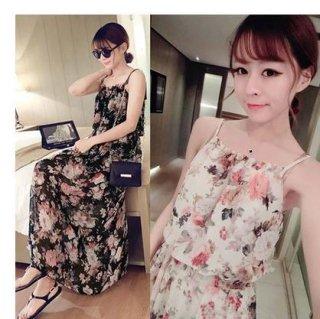 韓国ワンピース❤手軽に着て欲しい花柄のキャミソールマキシワンピ