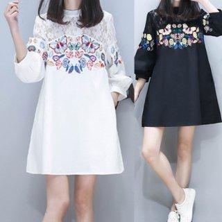韓国ワンピース❤肩のレースと鮮やかな刺繍がカワイイ♪七分袖ワンピース