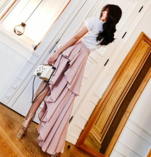 韓国スカート❤一瞬、世界観にうおおっとうなる、アシンメトリーなセクシーティアードスカート