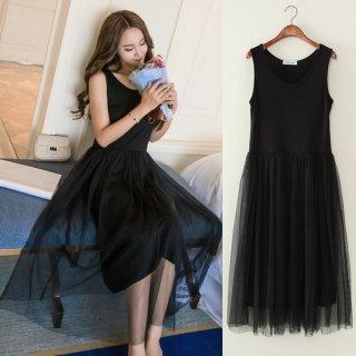 韓国ワンピース❤ドレス ノースリーブでシースルースカートが華やかなワンピ