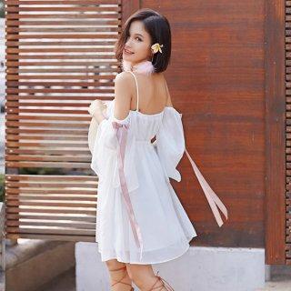 韓国ワンピース❤オフショルダーで妖精のような可愛いガーリーミニワンピ