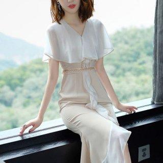 韓国ワンピース❤気品あるフリルがただようマーメードラインのドレスワンピ!