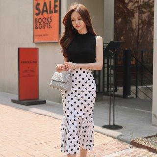 韓国セットアップワンピース❤かわいいドット柄マーメードスカートでハイウエストだから足長になっちゃよ!