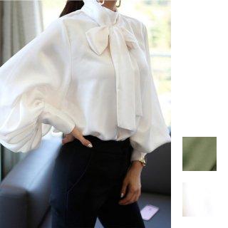 韓国ブラウス❤上品なブラウスに珍しい、ダボダボバカーンとしたバルーン袖が特徴のトップス!