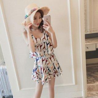 韓国ワンピース水着❤キリンさんの柄でフリルがとっても可愛い水着です!