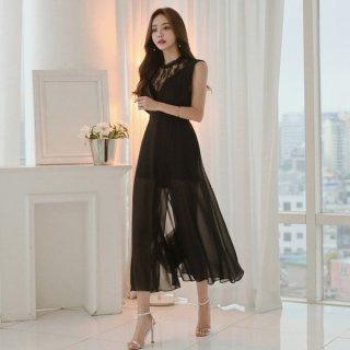 韓国ワンピース❤首元から背中へのレースとシースルーロングスカートがセクシーな個性的な形!