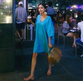 韓国ワンピース❤韓国ファッション鮮やかブルーのVネックチュニックワンピース!