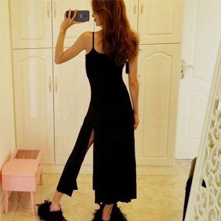 韓国ワンピース❤韓国ファッション!大きなスリットがセクシーなキャミワンピ!