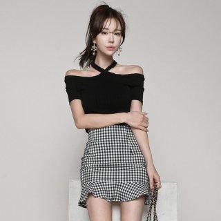 韓国ワンピース❤セットアップ オフショルダーホルターネックのトップスとチェックフリルなミニスカートの組み合わせ!
