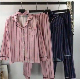 韓国パジャマ❤お洒落で可愛いストライプ韓国パジャマの長袖と長ズボン!
