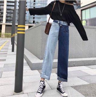 韓国パーツ❤デニム 超個性ありすぎの左右で色違うアシメトリーデニムパンツ!履く勇気ありますか?
