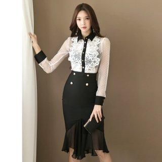 韓国ワンピース❤セットアップドレス 大人フェミニンガーリーなレースシースルーの韓国ドレス