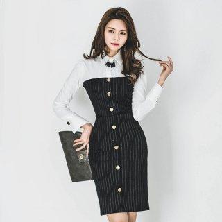 韓国ワンピース❤セットアップ ジャケット付きのストライプ!シャツとの異素材連携の個性的フォーマルワンピ!