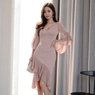 韓国ワンピース❤ドレス アシンメトリーでマーメードな感じのお呼ばれドレス