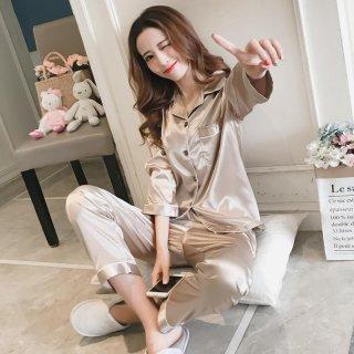 韓国ルームウェア❤パジャマ サテンで長袖長ズボンの大人パジャマ