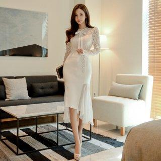 韓国ワンピース❤上品清楚なボウタイリボン可愛いアシンメートリー韓国ドレス