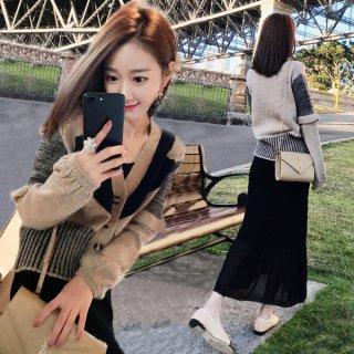 韓国ワンピース❤セットアップ 袖がデザイン的なカーディガンに透け感あるスカートセット