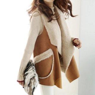 韓国ベスト❤大人デザインな羊さん羊毛ふわふわ可愛いファーベスト