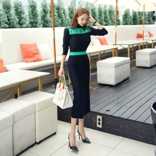 韓国ワンピース❤大人女子、ハイウエストのエレガントなタイトワンピ