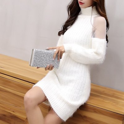 韓国ワンピース❤タートルネックで肩シースルーとっても可愛いニットワンピ