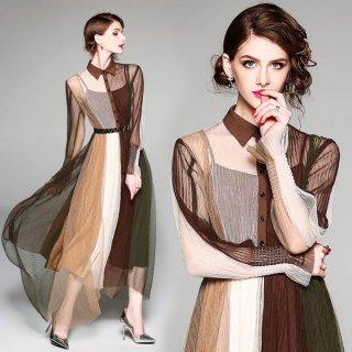 ワンピース❤秋色豊かなレトロデザイン韓国ドレス