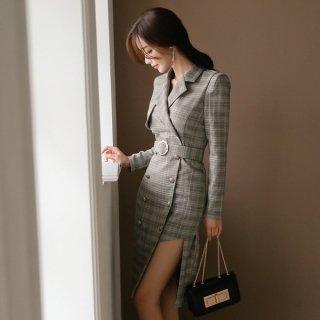 韓国ワンピース❤韓国ドレス チェック柄、トレンチ風でアシンメトリーセクシーなきれいめ大人ワンピ