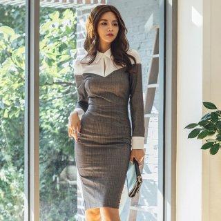 韓国ワンピース❤バイカラー襟付きのオフィスも行ける大人タイトワンピ