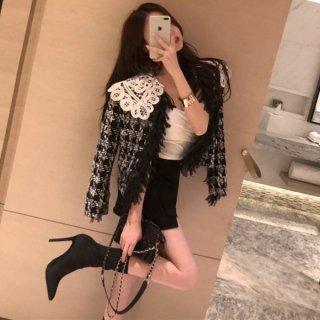 韓国アウター❤コーディガン・カーディガン フェミニンガーリーで可愛いチャック柄のニットジャケット