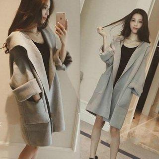 韓国アウター❤部屋着にも・・ほんのり可愛いガウンコート