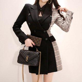 韓国ワンピース❤チェック柄とのバイカラーがお洒落なジャケット型ミニワンピ