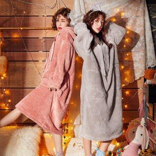 韓国ワンピース❤ルームウェア 寒い夜にもモコモコパジャマワンピで大丈夫