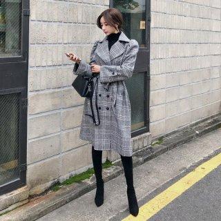 韓国トレンチコート❤韓国アウター グレンチェックの大人可愛いロングでカッコいいコート