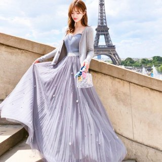 韓国スリーピース❤トップス、カーディガン、スカートのフェアリーガーリーなワンピース