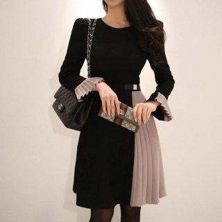韓国ワンピース❤韓国ドレス スカートと袖のプリーツがお洒落な大人ワンピ