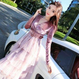 韓国ワンピース❤韓国ドレス カシュクールにティアードスカートのフリル可愛いガーリーワンピース