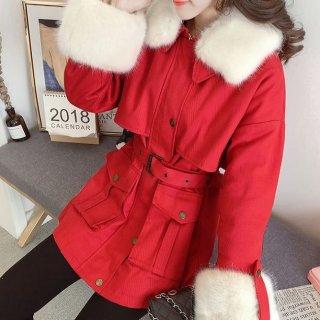 韓国アウター❤ファーコート 襟と袖のモコモコファーがとっても可愛いファージャケット