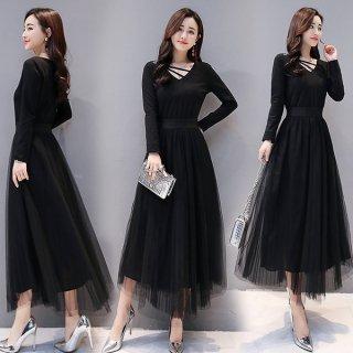 韓国ワンピース❤韓国ドレス Vネックに入ったラインがとっても個性的なブラックワンピース