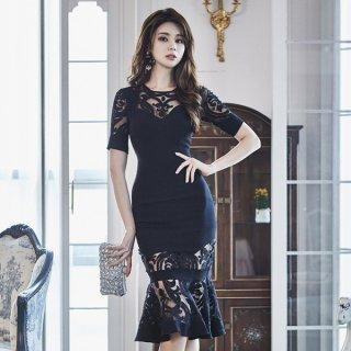 韓国ワンピース❤韓国ドレス エレガントなレースマーメードなパーティードレス