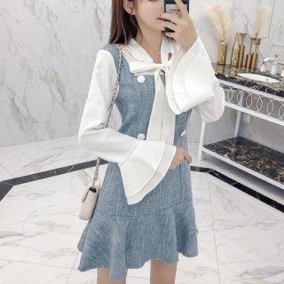 韓国ワンピース❤ブラウス フレア袖かわいいゆるふわガーリーミニワンピ