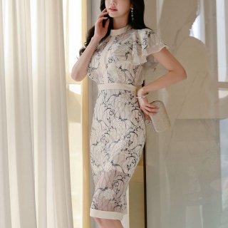 韓国ワンピース❤韓国ドレス 花柄ホワイト可愛いセクシータイトドレス