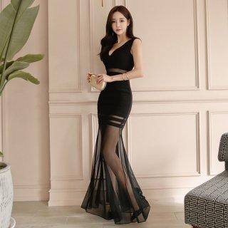 韓国ワンピース❤韓国ドレス 個性的ブラックセクシーなシースルードレス