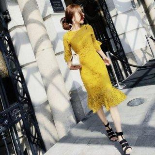 韓国ワンピース❤韓国ドレス お呼ばれに使える総レースの大人可愛いドレス