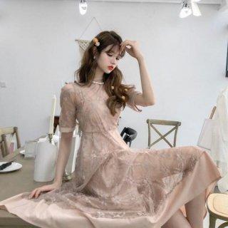 韓国ワンピース❤韓国ドレス お嬢様のような花柄レースの半袖ドレスワンピ