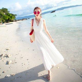 韓国リゾートワンピース❤純白カシュクールのきれいめビーチワンピース