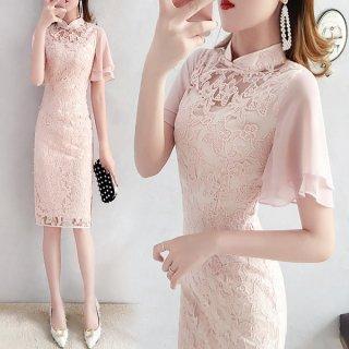 韓国ワンピース❤韓国ドレス 花柄レースがとっても可愛いピンクワンピ