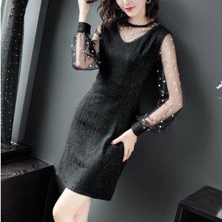 韓国即納ワンピース❤韓国ドレス 大人可愛いドットシースルーのブラックドレス