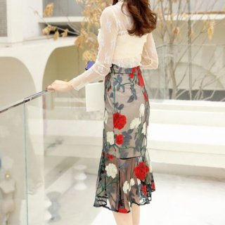 韓国スカート❤フラワーレースとシースルーがとっても可愛いマーメードスカート